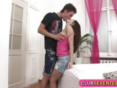 Petite teen angel trying out a big cock