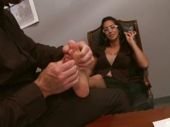 Isis Love office foot fucking