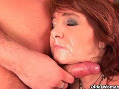 Sultry grandma wants his warm cum on her face