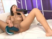 Babe with a brutal dildo and fucking machine