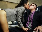Asa Akira and her hostess pals fuck on flight