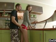 Hot teen kitchen fucking