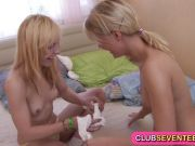 Sweet lesbian teenage blondies finger fucking fun