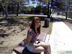 Redheaded teen Rose Red sucking cock