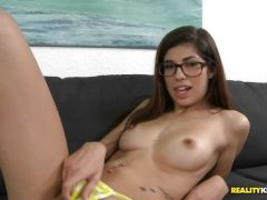 Ava Taylor bounces her slim body up and down on his hard stick