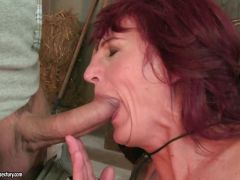 The hot stud didn\'t mind that he was mouth fucking grandma Ria