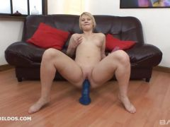 A blonde MILF with really meaty thighs