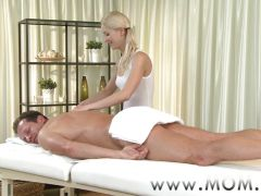 MOM Blonde MILF rubs more than just his arms