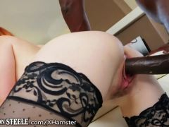 Tiny Redhead on Lex Steeles 1 Foot Cock
