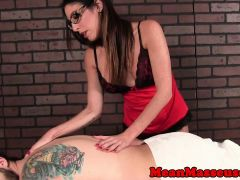 Femdom masseuse tickles client while tugging