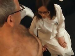 Hot Glasses Babe Gets Fucked By An Old Man