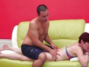 Short haired older woman nailed in her shaved minge
