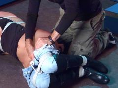 blonde in jeans bondage and vibed