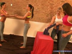Sexy girls workout and wrestling