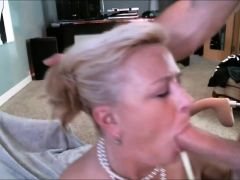 Blonde Milfy Getting A Mouthful Of Cum