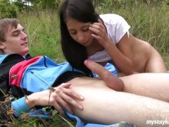 Skinny teen gets fucked outdoors