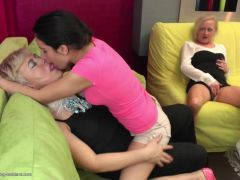 Happy lesbo 3some with granny mom and girl