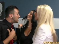 Classy cfnm milfs have fun sucking cocks to climax at a funny