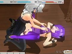 Blue Haired Anime Babe Gets Hammered By Shemale Anime and Cumload
