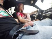 Brooklyn Rose starts a session in the car
