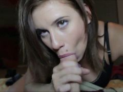 Hot brunette gal gives a blowjob