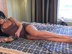 Brunette Has Feet and Pussy Fucked and Receives a Cumshot
