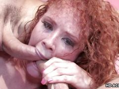 Hot redhead with big tits enjoy hard sex