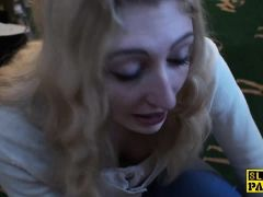 Submissive whore cumsprayed in mouth