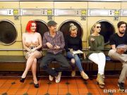 Flame haired Jasmine James gets rammed in the launderette
