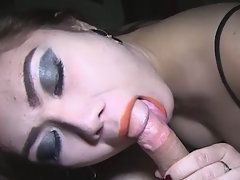 Horny Tranny gives a blowjob