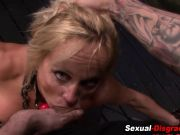 Bdsm slut gets throated