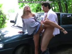 Blonde girl fucked on the roadside
