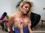Hot blonde lesbians love to touch each other