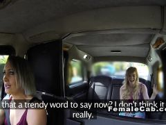 Female cab driver fingers blonde student