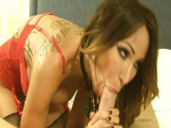 Sandee Westgate rides a thick cock