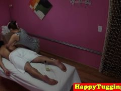 Busty Asian Masseuse Cockriding And Tugging
