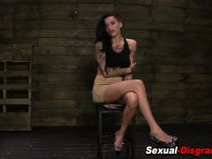 Bdsm whore rides sybian