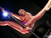 Britney the sexy stripper pleases herself on the pole