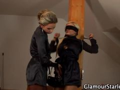 Hot clothed blonde toyed