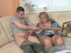 Old granny suck and fuck young boy\'s cock
