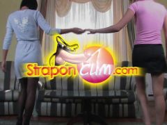 StraponCum - Roommates. 1of2. HighHeels Stockings Threesome!