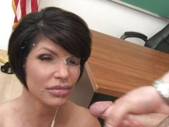 Pretty face of kinky brunette Shay Fox splattered with spunk