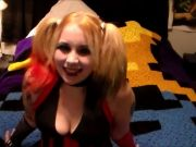 Cosplayed Harley Quinn blowjobs and cumshots