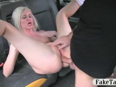 Sexy blond gets her ass fucked by driver
