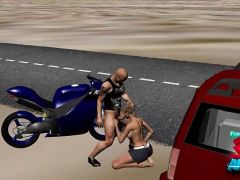 Kinky blondes rides a biker\'s big cock