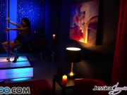 Horny brunette stripper Jessica Jaymes spitroasted by two hung men
