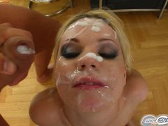 Her love for cum is as plain as the mess on her face