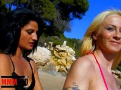 Fucking two hot bitches at the nudist beach