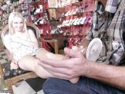 Hot blonde Staci Carr lets him unload on her pretty feet
