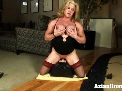 Female bodybuilder strips and rides the Sybian